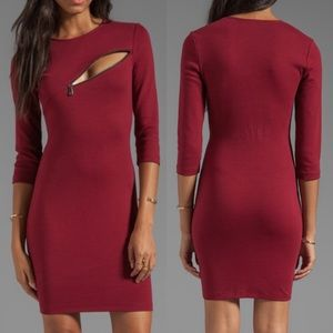 Alexander McQueen 3/4 Sleeve Zip Oxblood Dress L